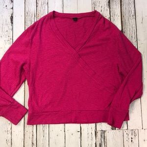 J. Crew Hot Pink Textured knit Faux Wrap Size XL